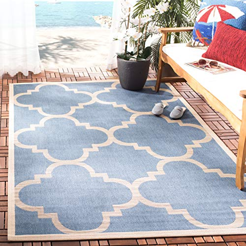 Safavieh Courtyard Collection CY6243-243 Blue and Beige Indoor/ Outdoor Area Rug (4' x 5'7