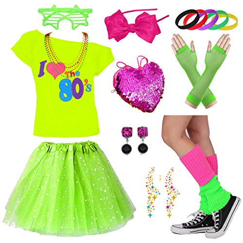 Child Girl 80's Star Sequin Tutu Skirt Party Costume Accessories Set (7-8 Years, ()