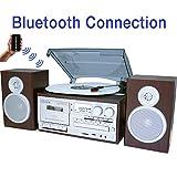 Boytone BT-28SPS Tornamesa con Bluetooth, Estilo clásico, con Radio Am/FM, Reproductor de Cassette y CD, 2Altavoces estéreo Separados, graba Vinilo, Radio, Cassette a MP3, Ranura SD, USB, AUX