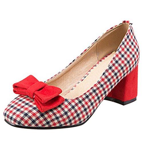 Talon Moyen Enfiler Escarpins Classique COOLCEPT Carreau Rouge Bloc Femme A Carre Chaussures Ferme Bout A q0gczH