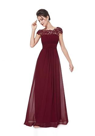 VIP Dress Edles langes Spitze Abendkleid in Bordeaux Rot, Größe 44   Amazon.de  Bekleidung 22b21cc726