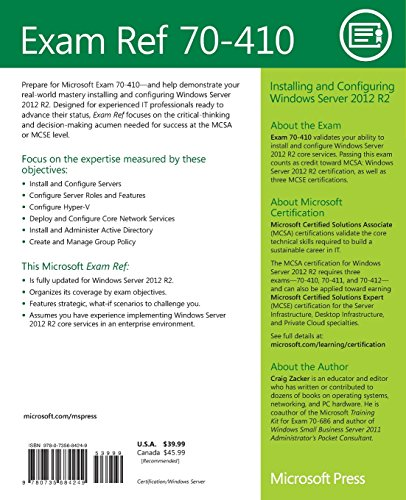 515kt6vXq5L - Exam Ref 70-410 Installing and Configuring Windows Server 2012 R2 (MCSA)