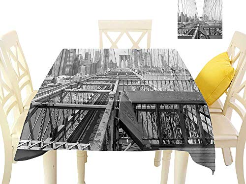 W Machine Sky Waterproof Tablecloth Modern Vintage View of Brooklyn Bridge in New York City Mechanic USA American Print W36 xL36 Suitable for Buffet Table, Parties, Wedding