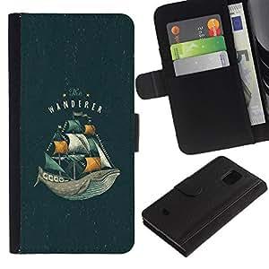 Be-Star la tarjeta de Crédito Slots PU Funda de cuero Monedero caso cubierta de piel Para Samsung Galaxy S5 Mini (Not S5), SM-G800 ( Whale Ocean Sea Vignette Book Sails )