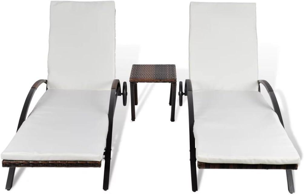 vidaXL Lettini Prendisole con Tavolino 3 pz Elegante Sdraio Mobile Arredo Giardino Spiaggia Piscina Chaise Longue in Polyrattan Marrone