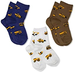 Jefferies Socks Little Boys\' Construction Triple Treat Socks  (Pack of 3), Putty, Small