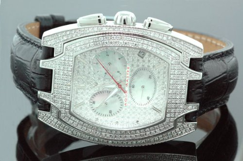 Aqua Master Mens Jumbo Size Diamond Watch 3.0ctw by Aqua Master