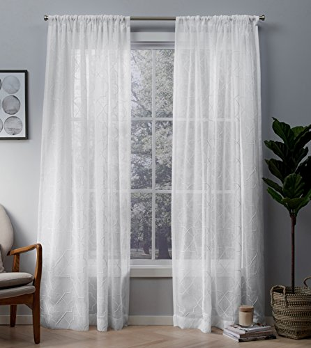 Exclusive Home Cali Embroidered Sheer Window Curtain Panel Pair with Rod Pocket 50x84 Winter White 2 Piece (Jacquard Rod Pocket Curtains)