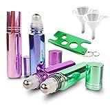Mixed Color Essential Oil Roller Bottles Set (4 Pack 10ml(1/3oz) Bottles, Metal Essential Oils Key, 2 Funnels)