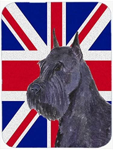 Caroline's Treasures SS4965MP Schnauzer with English Union Jack British Flag Mouse Pad, Hot Pad or Trivet, Large, Multicolor [並行輸入品]
