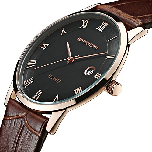 Wdnba 7mm Super Slim Watch Mens Watches Genuine Leather Gold Watch Men Calendar Quartz (Black Dial Super Slim Watch)