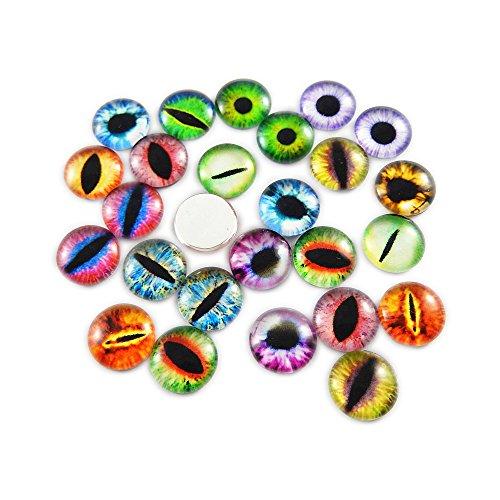 100PCS 20x20MM Round Glass Dragon Cat Eye Cabochon for Doll Animal Eyes Making