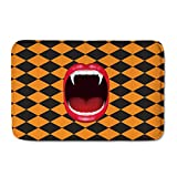 Designs4U FOR U DESIGNS Flannel Floor Mat All Weather Exterior Doormat Thick Floor Carpet Halloween Screaming Mouth