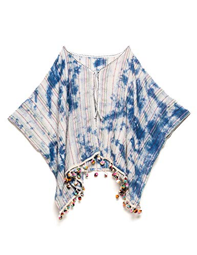 (Pepe Jeans Girls Kids Blue Tie-Dye Poncho Black in Size M / 14 Years)