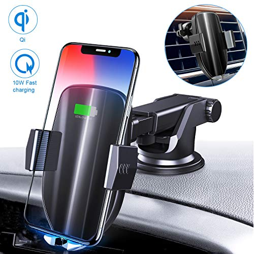 Moskee Wireless Car Charger Mount,Automatic Clamping,Qi 10W 7.5W Fast Charging,Air Vent Phone Holder Compatible with iPhone Xs/Xs Max/XR/X/8/8 Plus, Miyababy Samsung Galaxy S10/S10+/S9/S9+/S8/S8+
