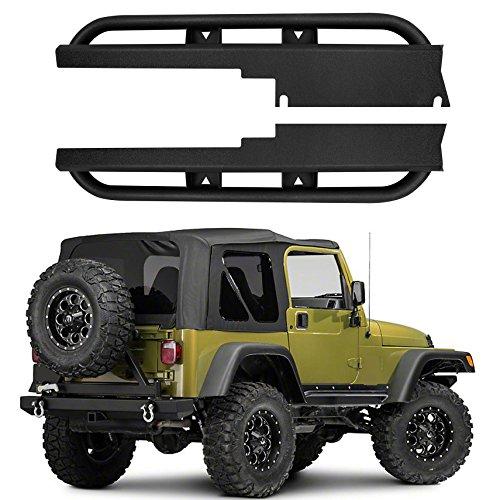 Rock Rail Step - Hooke Road 1997-2006 Jeep Wrangler TJ Side Steps Rock Rails Solid Steel Running Boards (Pair)