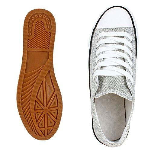9e2ec58733f034 ... Japado Elegante Damen Sneakers Low Glitzer Canvas Schuhe Turnschuhe  Freizeit Gr. 36-41 Silber