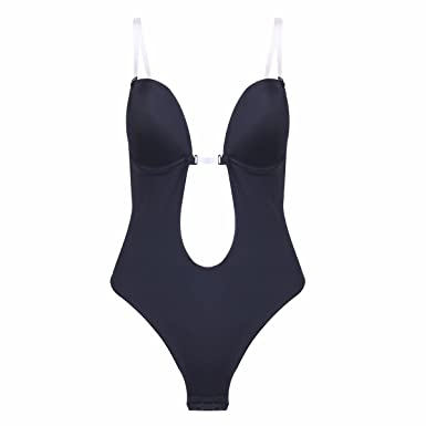 c7cecf8cf7d9f FEESHOW Sexy U Plunge Backless Deep Plunging Dress Clear Strap Thong Shapewear  Body Suit Black 32A
