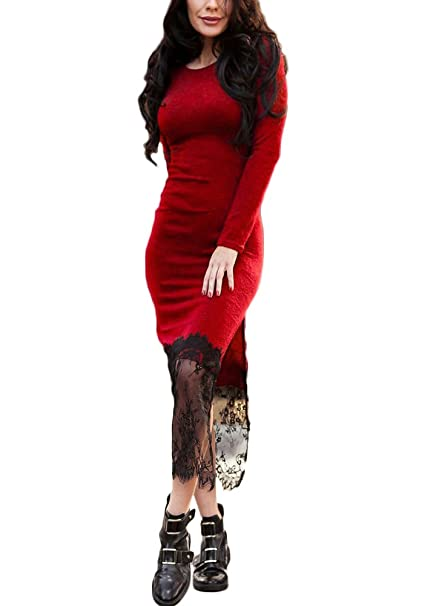 Romacci Women Lace Hem Dress Long Sleeves High Slit Side Slim Casual Party Dress Bodycon Vestidos