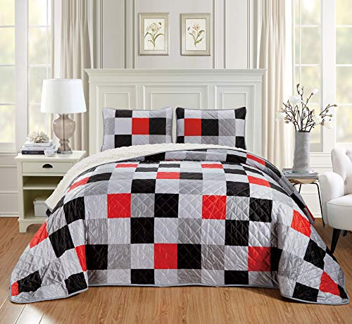 Chezmoi Collection 3-Piece Velvet Sherpa Quilt Set - Lightweight Warm Cozy Fluffy Plush Reversible Bed Blanket Comforter - Queen, Checkered Red (Collection Red Velvet)