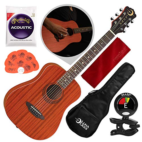 Luna Safari Muse Mahogany 3/4-Size Travel Acoustic Guitar with Gigbag, Clip-On Tuner, and Bundle