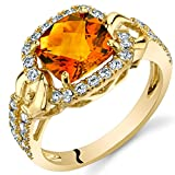 Citrine Cushion Halo Ring in 14K Yellow Gold (2.00 carat)