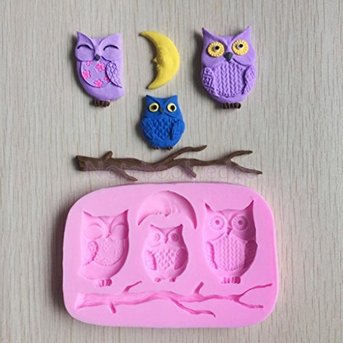 Owls on Twig Silicone Fondant Mould Cake Baking Paste Decorating Tool by notebook.edge