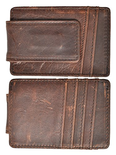 Hopsooken Money Clip RFID Front Pocket Wallet Men Leather Slim Minimalist Wallet (Deep Brown)