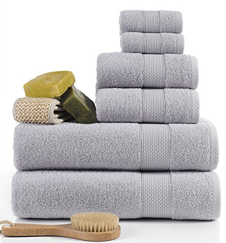 Turkish Towel Set 6 Piece,100% Cotton,, 2 Bath Towels, 2 Hand Towels and 2 Washcloths, Machine Washable, Hotel Quality, Super Soft and Highly Absorbent by IXIRHOME (LIGHT GRAY) (And Pink Towels Gray)
