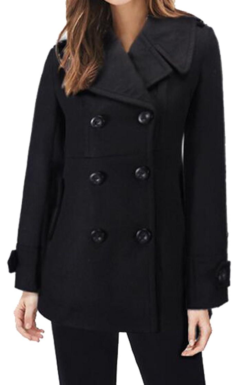 XTX Women Fashion Double-breasted Jacket Lapel Woolen Coat