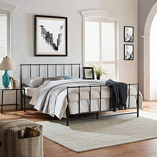 Modway Estate Brown Steel Metal Platform Bed With Metal Slat Support in King