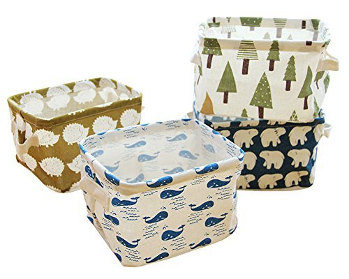- Miaro 4 Pack Canvas Storage Basket Bins, Home Decor Organizers Bag for Adult Makeup, Baby Toys liners, Books (4 pack, tree,bear,hedgehog,whale)