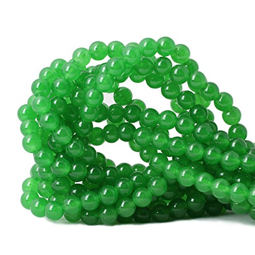Qiwan 45PCS 8mm Jade green chalcedony Round Stone Loose beads for Jewelry Making Diy Bracelet Necklace 1 Strand 15