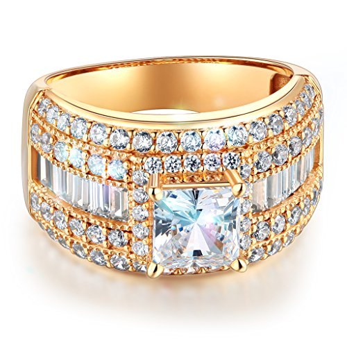 Princess Cut Side Stones (Wellingsale Ladies Solid 14k Yellow Gold Polished CZ Cubic Zirconia Princess Cut Engagement Ring with Side Stones - Size 7)