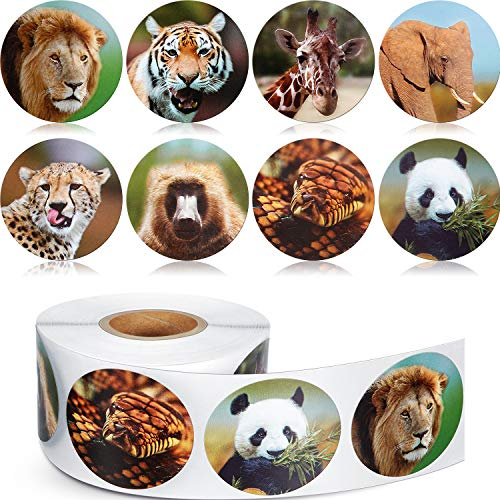 (Chinco 500 Pieces Animal Stickers Zoo Animal Roll Stickers 1-1/2 Inch Self Adhesive Label Animal Shape Wall Decals for Kids Party Favors, 8 Styles )
