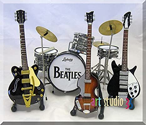 Juego de The Beatles guitarra en miniatura Drumset John, George ...