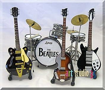 Juego de guitarra en miniatura de los BEATLES JOHN Drumset, GEORGE, PAUL, RINGO: Amazon.es: Instrumentos musicales