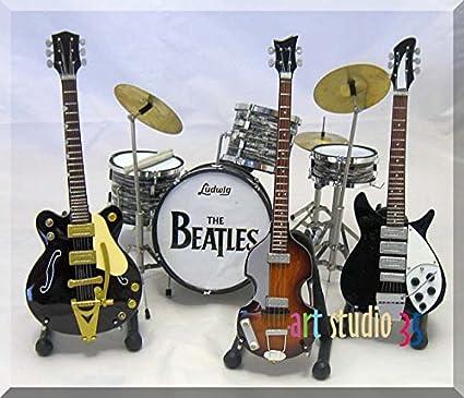 Juego de guitarra en miniatura de los BEATLES JOHN Drumset, GEORGE, PAUL, RINGO