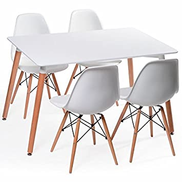 eames eiffel white dining room chairs set of four 4 amazon ca rh amazon ca