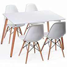 Eames Eiffel White Dining Room Chairs, Set of Four (4)