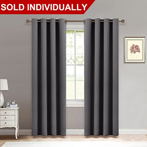 Bedroom Blackout Curtain Window Treatment   (Grey Color) Home Decoration  Thermal Insulated Room Darkening Drapes / Drapery By NICETOWN, W52 X L84  Inch, ...