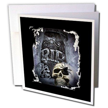 3dRose WhiteOaks Halloween Skulls - Grave Marker and Skull Halloween Skull Design - 1 Greeting Card with envelope (gc_28314_5)