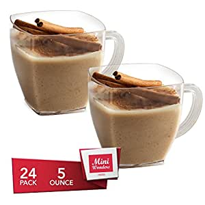 MINI WONDERS Heavy Duty Small Plastic Single Serve Dessert Cups Square Espresso Coffee Cappuccino Mugs 5 oz. Clear Appetizer Bowls 24 Count - Disposable Reusable Party Dishes