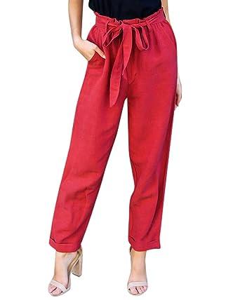 attraktiver Stil moderne Techniken attraktiver Stil Damen Lässige Hosen Lockere High Waist Hose Leichte ...