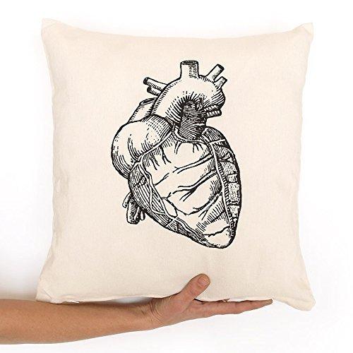 Funda cojín corazón anatómico un regalo de enamorados. En tela roja, gris o blanca y serigrafia eco. Con cremallera.