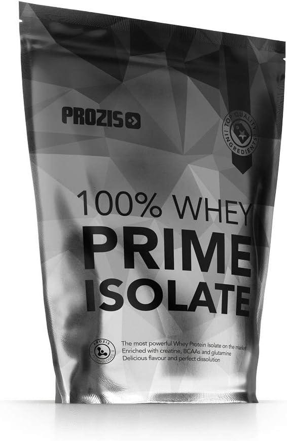 Prozis 100% Whey Prime Isolate 400 g Fresa Concentración De Proteínas Superior Al 90%, Con Creatina, Bcaa Y Glutamina, Bajo En Grasas Y Sin Azúcar, ...