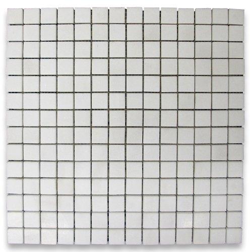 Square Marble Mosaic - Thassos White Greek Marble Square Mosaic Tile 3/4 x 3/4 Honed