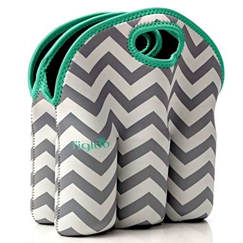 Neoprene 6 Pack Bottle Carrier, Extra Thick Insulated Baby Bottle Cooler Bag Keeps Baby Bottles Cold or Warm Great as Baby Shower Gift (gray chevron aqua trim) by Vettore (Image #1)