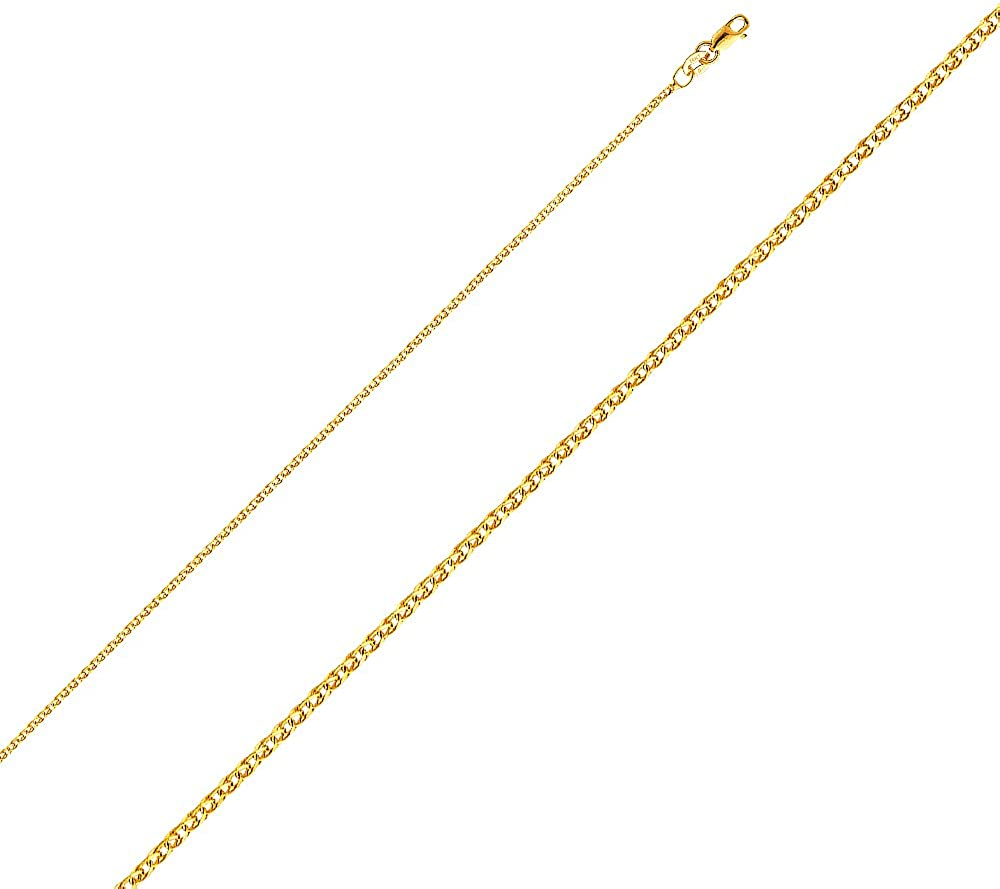14K Yellow Gold Cross Mi Primera Comunion Charm Pendant with 1.5mm Flat Open Wheat Chain Necklace