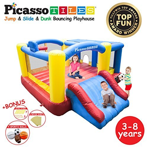 [Upgrade Version] PicassoTiles KC102 12x10 Foot Inflatable Bouncer Jumping Bouncing House, Jump Slide, Dunk Playhouse w/ Basketball Rim, 4 Sports Balls, Full Size Entry, Extended Slider, 525W Blower ()